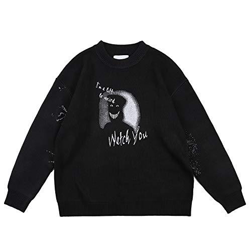 Suéter de los Hombres de Moda de Moda Personalidad Impresa suéter de Cuello Redondo Divertido Hip-Hop cálido suéter de Punto Informal S
