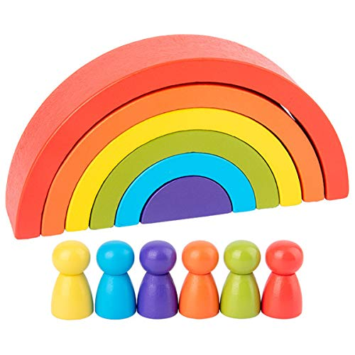 Lisanl Building Construction Toys - DIY Children's Wooden Rainbow Toy Creative Wood Rainbow Stacked Balance Blocks Baby Toy Montessori Educational Toys for Children
