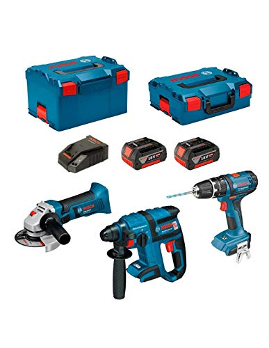 Preisvergleich Produktbild Kit Bosch PSL3P3: GWS 18 V-LI + GBH 18 V-EC + GSB 18-2-LI (2 Batterien x 5, 0 Ah + L-Boxx Koffer 136 + L-Boxx Koffer 238 + Ladegerät AL1860CV)