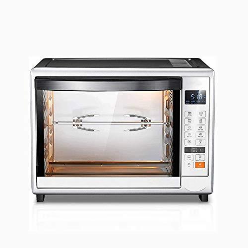 Stainless Steel/Zilver heteluchtoven, Fully Automatic Rotary Oven Met Grote Vork, onafhankelijke temperatuurregeling for de Eerste en Tweede Tubes, Pizza Baking Multifunctionele