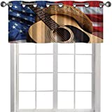 Nursery Window Valance Curtain Country Music Acoustic Guitar with American Flag Popular Fourth of July Festive 36' x 18' Grommet Top Drapes/Valance for Living Room Multi