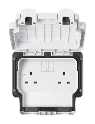 MK Masterseal Plus K56482WHI - Presa a 2 vie con interruttori 13 amp, standard inglese