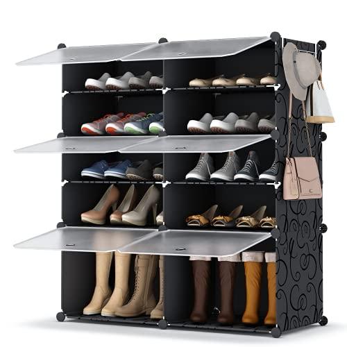 HOMIDEC Schuhregal, 2 x 5 Etagen, Schuhschrank, 20 Paar Kunststoff-Schuhregale, Organizer für Schrank, Flur, Schlafzimmer, Eingangsbereich