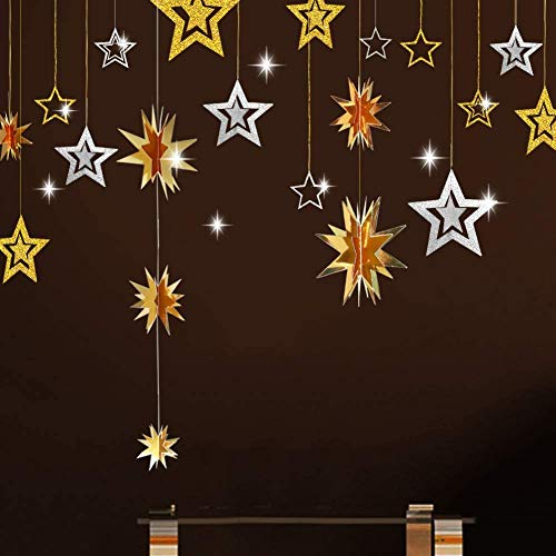 Decor365 Gold Silver Star Hanging Decoration 3D Star Cutout Twinkle Little Star Garland Bunting Banner Starry Party Supplies Birthday/Wedding/Baby Shower/Graduation/Christmas/New Year Decor