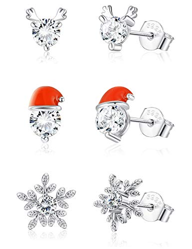 Milacolato 925 Sterling Silver Christmas Stud Earring Set for Women Daughter Teen Elk Snowflake Snowman Christmas Tree Earring Christmas Gift Earring with Box