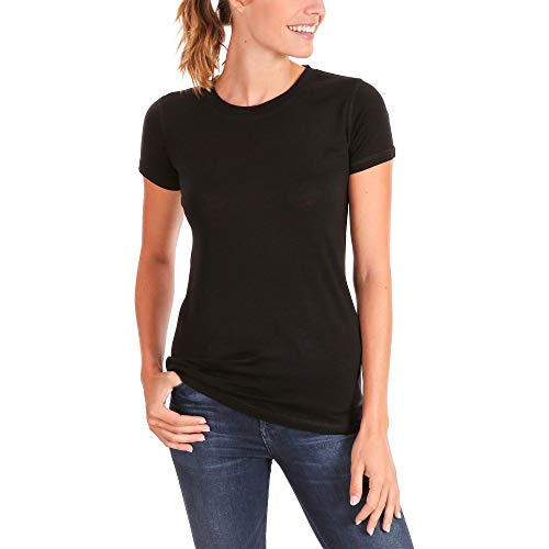 Woolly Clothing Co. Women's Merino Wool Flex Crew Neck Tee Shirt - Ultralight - Wicking Breathable Anti-Odor M BLK