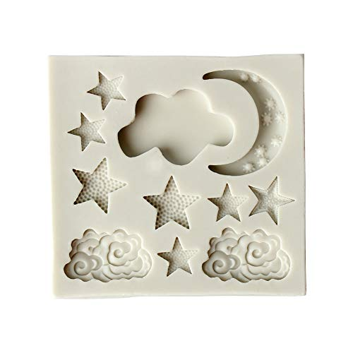 Da.Wa - Molde de silicona para tartas, para decoración de fondant, con diseño de la luna, estrellas, nubes, molde cortador de azúcar, chocolate, tartas, fondant, molde de cocina