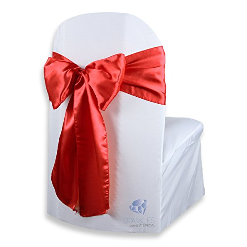 Sparkles Make It Special 100 pcs Satin Chair Cover Bow Sash - Red - Wedding Party Banquet Reception - 28 Colors Available