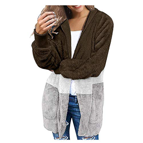 Yowablo Strickjacke Damen Grobstrick Cardigan Strickmantel strickcardigan Kurz Open Front Cardigan Cover Up Outwear mit Tasche Oversize Herbst (XXL,3- Braun)
