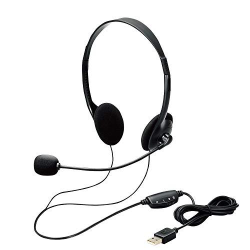 エレコム ヘッドセット Φ30mmドライバー 両耳 USB接続 ブラック ケーブル長180cm HS-102UBK