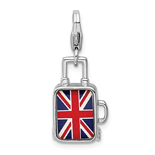 Adornica Diamonds 925 esmaltado Bandera británica Maleta Corchete de la Langosta del Encanto