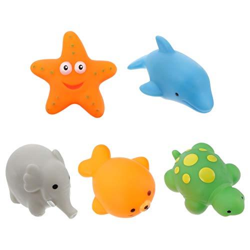 TOYANDONA 5Pcs Juguetes de Baño para Bebés Iluminan Juguetes de Goma Flotantes para Animales Juguetes de Baño Intermitentes Natación en Agua Aprendizaje Temprano Juguete Suave para Niños