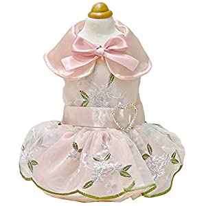 MaruPet Elegant Princess Lace Hollow Dress Silky Tutu Queen Style with Bowknot for Small, Extra Small Dog Teddy, Pug, Chihuahua, Shih Tzu, Yorkshire Terriers