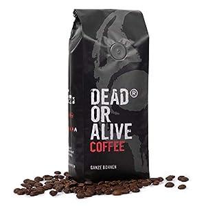 DEAD OR ALIVE Granos de Café Espresso NR3 - Mezcla Italiana Extra Fuerte de Tostado Lento - Pura Robusta, la Mejor Crema - Gourmet, Tostado Intenso Vegano - Amantes de Java - Paquete de 1000g