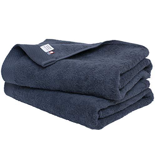 ブルーム 今治タオル 認定 シエルタオル バスタオル 同色 2枚セット ホテルタイプ 日本製 (ネイビー)