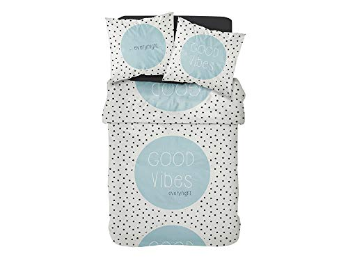 TODAY Printed Parure de Lit 2 Personnes + 2 Taies d'oreiller, Coton, Blanc/Noir/Bleu, 220x240 cm