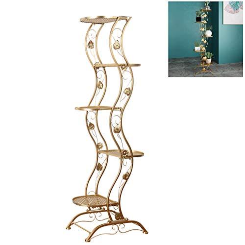 Plante Stand Pot à Fleurs, Affichage d'angle Rack 5 hiérarchisé décoratifs en métal intérieur étagère Planters, pour Balcon Home Office,d'or