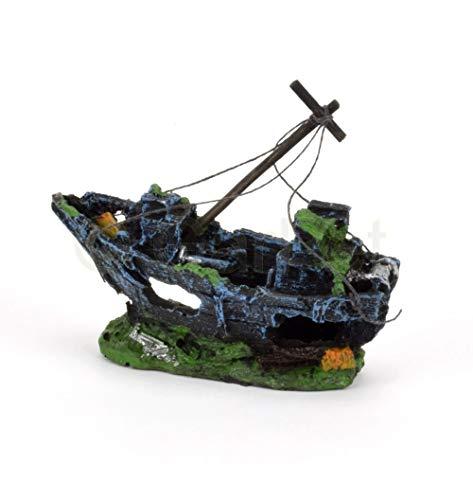Happet Aquarium Deko versunkenes Schiffswrack Schiff Segel Boot Wrack mit Segeltuch