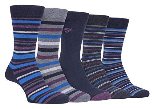 Farah - 5er Pack Herren Bunt Punkte/Uni/Gestreift/Kariert Muster Business Socken (39/45, CS191NVYPUR (Striped))
