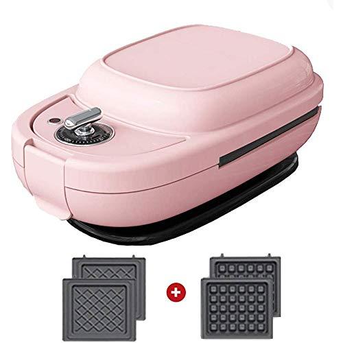 Hammer Waffle Maker- Antiadherente American Classic Waffler Hierro con Ajustable de Control de Tostado, Desayuno Ligero Máquina Clip Clip de múltiples Funciones Pot Donuts (Color : Pink)