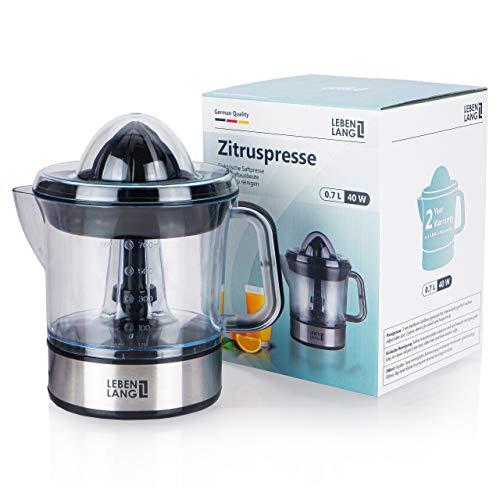 Exprimidor eléctrico automático para zumo de limón, naranja, frutas y alimentos | Jarra vaso y colador de plástico | Acero inoxidable | fácil uso y limpia | Para cocina de chef profesional | LEBENLANG
