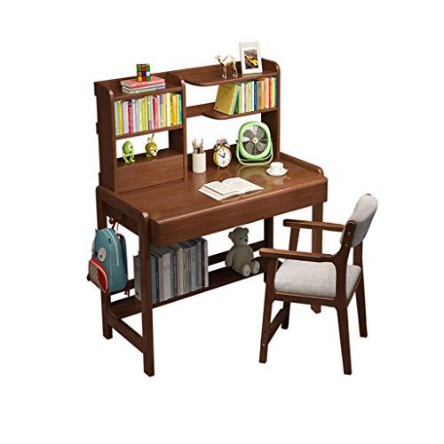 XSN Ergonomisches Kinderschreibtisch- Und Stuhlset,Kinderstudientisch Verstellbare Beine des Hubtisches, Mit Bücherregal, Zwei Schubladen, Mit Hebesessel