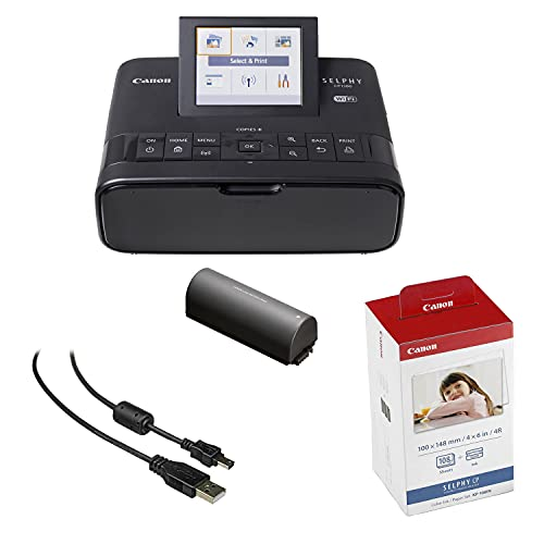Canon SELPHY CP1300 Compact Photo Printer (Black) with WiFi w/Canon Color Ink and Paper Set + Battery