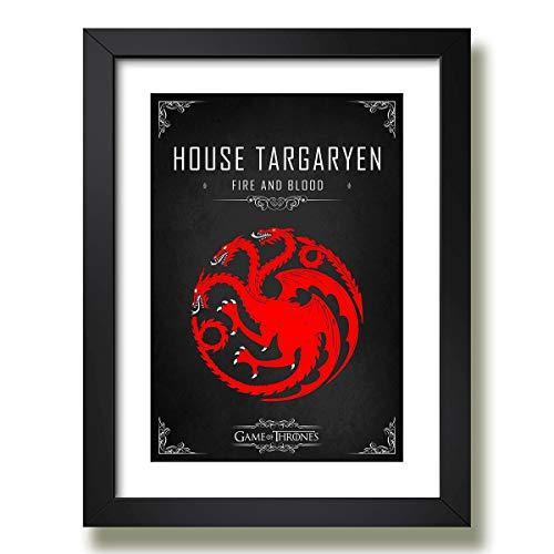 Quadro Game Of Thrones House Targaryen Serie Decoracao Moldura Paspatur Pronto para Pendurar