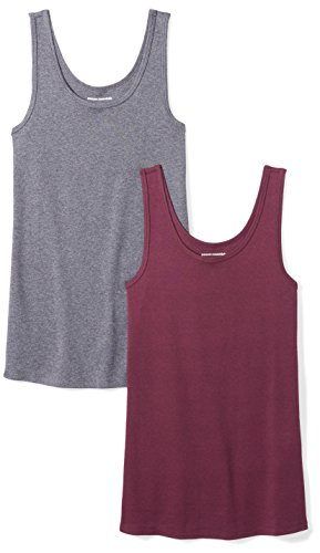 Amazon Essentials Women's 2-Pack Slim-Fit Tank, Burgundy/Charcoal Heather, X-Large