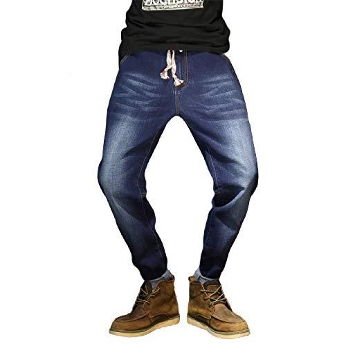 Pantalones Vaqueros para Hombre Primavera y Verano cordón Cintura elástica Pantalones Vaqueros Harlan Moda Todo-fósforo Tallas Grandes Jeans Casuales XXL