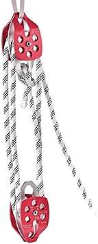 TOPQSC Cuerda de Escalada Rigging polea Doble Polea y polea Doble 11mm 250Ft Polea Doble con Cuerda de Trenzado 30-35KN 6600-7700LBS