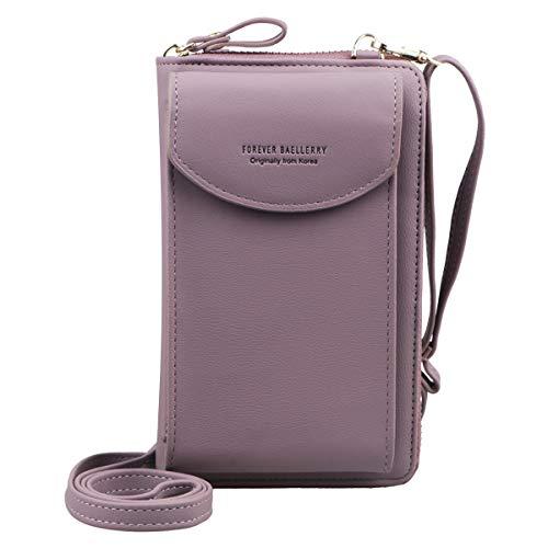Jangostor Billetera pequeña con bolso de Crossbody, bolso para el teléfono celular con ranuras para tarjetas de crédito (Light Purple)