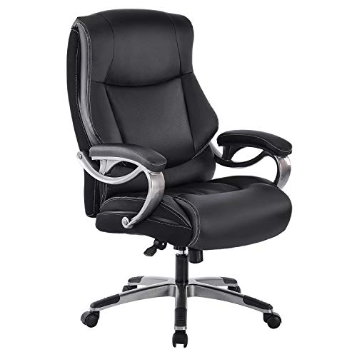 PEROINE Big & Tall Office Chair - High Back Bonded Leather Ergonomic Executive Computer Desk Swivel Chair with Tilt Function, Thick Padding and Ergonomic Design for Lumbar Support
