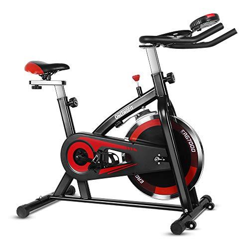 ONETWOFIT Bicicleta Estática, Volante Inercia 13/15/20 kg, Bicicleta de ciclo silenciosa con transmisión por correa con manillar y asiento ajustables (Volante Inercia 10 kg)