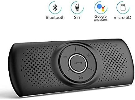 AGPTEK Manos Libres para Coche Bluetooth 4.2 con Siri, Google Asistente de Comandos de Voz, Altavoz Inalámbrico con Ranura de Tarjeta TF, Soporta Conexión de 2 Móvil Simultáneamente, Negro