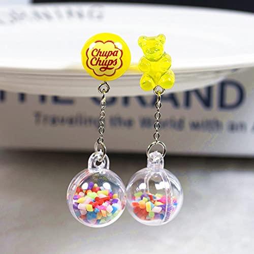 CXWK 1 par de Pendientes de Perno Prisionero Multicolor Gummy BearResina Encantos de Caramelo con BolaRegalo de joyería de Moda