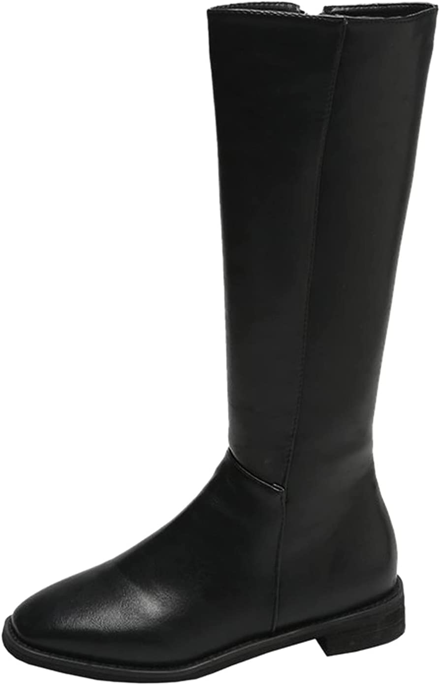 Women's Knee High Boots Fashion Mid Calf Boots Casual Breathable Chunky High Heels Ankle Bootie Retro Zipper Combat Boots Short Boots Winter Cowboy Boots Comfortable Shoes Sneakers (Black, 8)