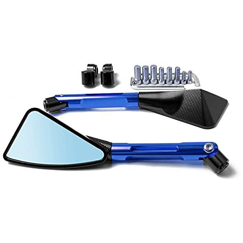 WXSM para K-awasaki Z900 Z900RS Z800 Z1000 650 1000 300X ER6N Espejo Lateral De Aluminio para Motocicleta (Color : Blue)