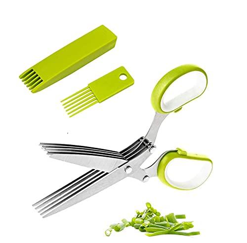 Tijeras para hierbas aromáticas de acero inoxidable, 5 capas, cuchillas de acero inoxidable, tijeras de tubo de corte con peine de limpieza y tapa