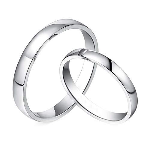Daesar 18K Gold Rings Men and Women Engagement Rings for Couples Simple Round White Gold Rings Women Size K 1/2 & Men Size W 1/2