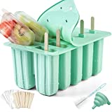 Popsicle Molds, Silicone Ice Pop Molds, BPA Free Reusable Ice Popsicle Maker, Popsicle Set with 50 Sticks, Cleaning Brush, Funnel and 50 Popsicle Bags, 100% Healthy