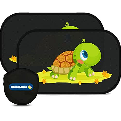 AlmaLuna | Tendine Parasole Auto Bambini - Protezione Solare 99% dai Raggi UV - 2 Pezzi 51x31 cm 80g/m2 - Accessori Macchina per Interno Tende Oscuranti -...