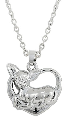 Lemegeton Adorable collar con colgante de perro chihuahua en forma de corazón, tono plateado,...