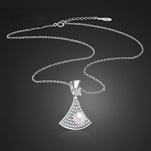 HZYRR Collar de Perlas para Mujer. Colgante de Diamante de Plata de...