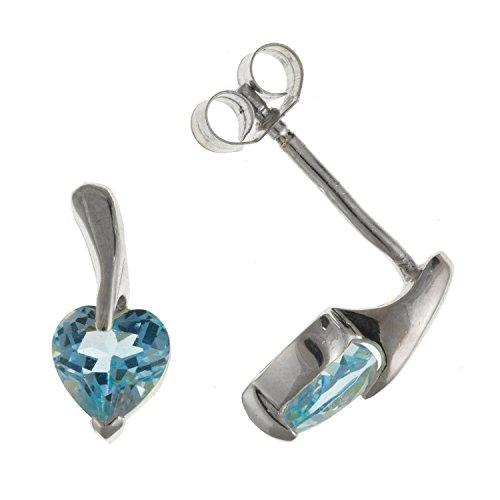 scintillante vero topazio blu orecchini a forma di cuore/perno–5mm x 11mm–925argento Sterling–Scatola regalo in omaggio/sacchetto regalo