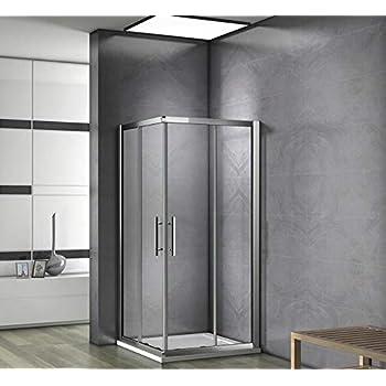 Mampara de Ducha Angular cabina de ducha mampara de ducha cuadrada Puerta Corredera Cristal 5 MM perfilería gris mate 120x80cm: Amazon.es: Bricolaje y herramientas