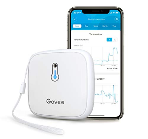 Govee Indoor Hygrometer Thermometer, Bluetooth Temp Humidity Gauge with App Alert and Free Data Export, 2s Data Refresh Mini Humidity Meter for Wine Cellar Greenhouse