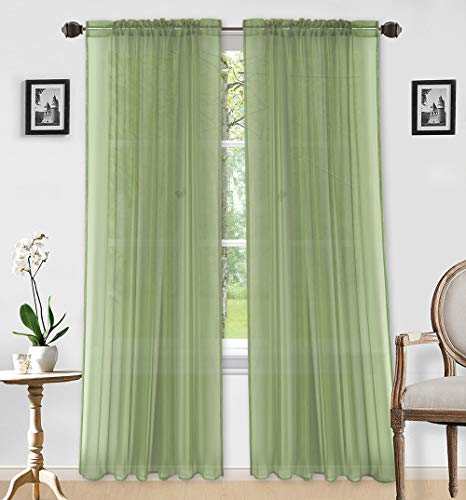 """LinenTopia 2pc Sheer Voile Curtain Panels Set of 2, Home Window Decoration Treatment for Living Room, Solid Color, Decorative Sheer Panels (Sheer, 84"""", Sage Green)"""
