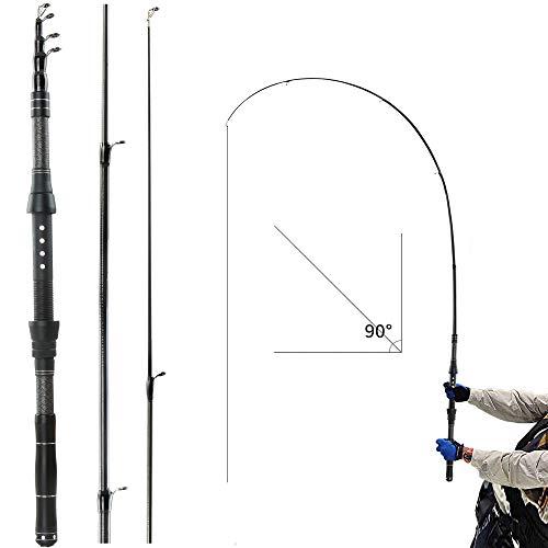REAWOW Faltbare Angelrute Mini Teleskop-Angelrute Tragbare Carbon Superleichte Angelrute Bass Salzwasser-Sü?Wasser Ausziehbare Forelle Karpfen Allround Fishing Rod