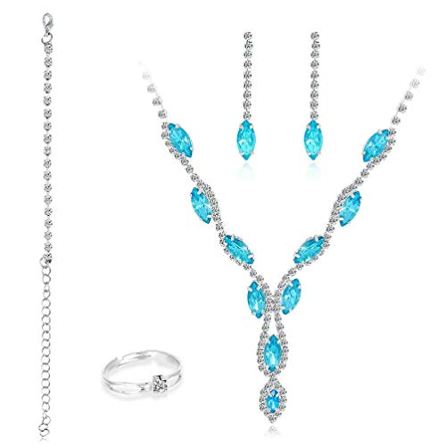 yasu7 Conjunto de joyas para novia para boda con colgante de lágrima de cristal y pendientes de plata de ley